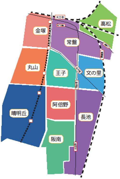 阿倍野区区域図